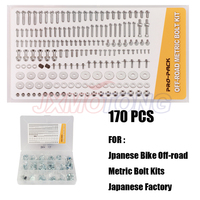 179 Pieces Motorcycle Hardware Full Size Bolt Pro Pack Kit for Jpanese Bike Off road Metric Bolt Kits Japanese Factory Style