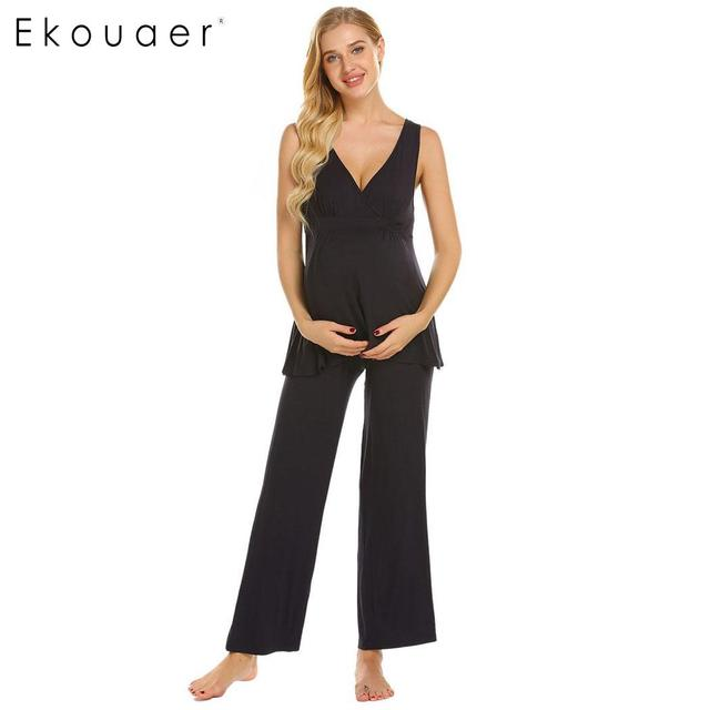 42fc4cb4f Ekouaer Women Pajamas Nightwear Casual Maternity Tank Top Long Pant Pajama  Sets Lounge Soft Cotton Sleepwear Suits Female Cloth