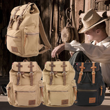 Men Vintage Satchel Canvas Leather Backpack Rucksack bags travel military school Bag men sports outdoor hiking bag free shipping