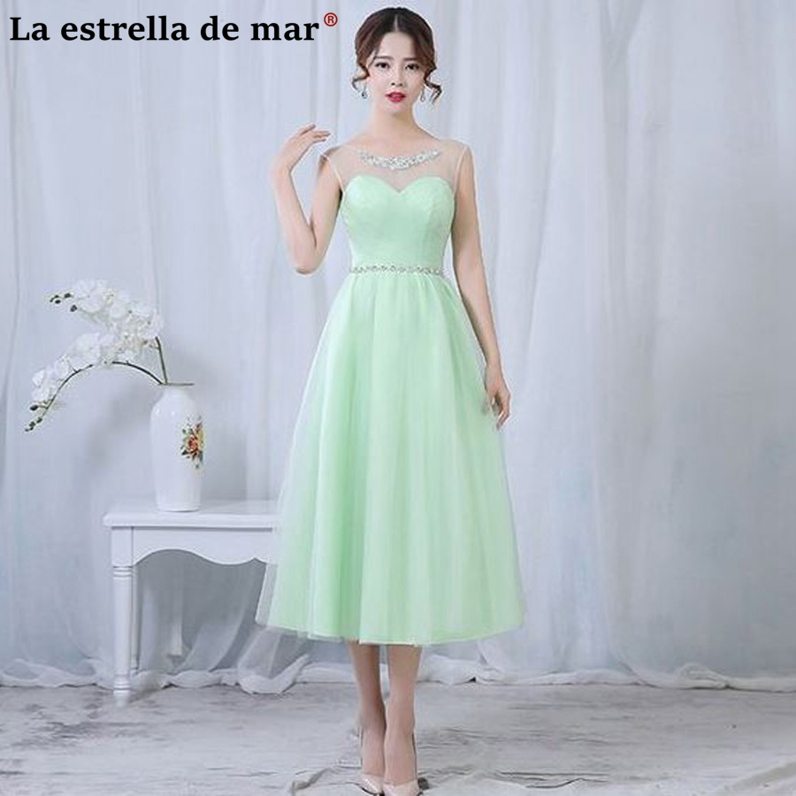 Vestido para madrinha2018 New Tulle Drill a Line Mint Green Silver champagne Light purple blush   bridesmaid     dresses   Tea Length