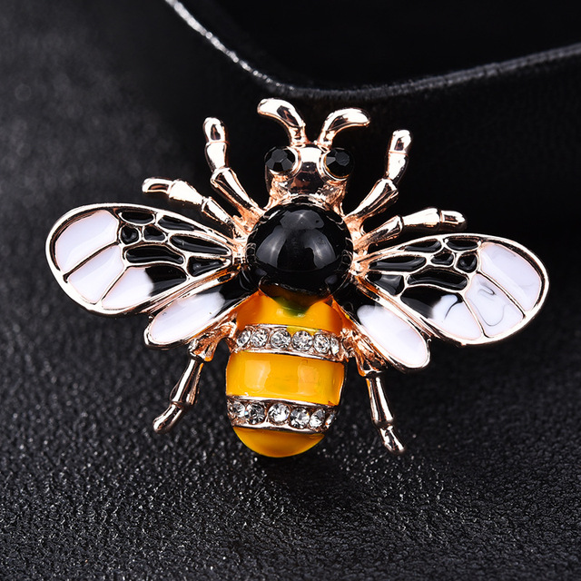 Bee Brooches for Women Insect Enamel Pin Crystal Scarf Suit Collar Pins and Broo