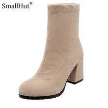 цена на High Heel Ankle Boots Women Autumn Ladies Fashion Square Heel E109 Elegant Woman Black Beige Yellow Gray Round Toe Short Boots