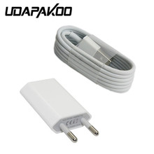 2pcs/lot 1:1 Good quality 2 in 1 8pin USB Data charger Charging Cable + EU USB Plug charger for iPhone 5 5S 6 ipad 4 6 plus 7