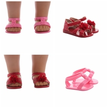 Doll Sandals Summer Pink Red Flower Shoes Sandals For 18 Inch American Doll & 43CM Born Doll Accessories Best Toy For Generation abwe best sale 3 pcs flower print wood japanese folk craft kokeshi doll pink
