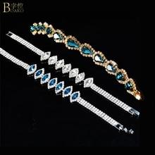 BOAKO bracelets for women luxury bracelet crystal zircon bangles bridal mariage womens jewelry blue Z5