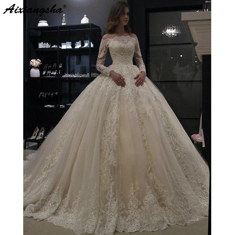 Vestido De Noiva 2019 Muslim Wedding Dresses Ball Gown Strapless Long Sleeve Lace Dubai Arabic Wedding Gown Ivory Bride Dress