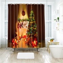 3d Christmas Tree and Stocking Pattern Shower Curtains Bathroom Curtain Thicken Waterproof Thickened Bath Curtain for Halloween цены онлайн