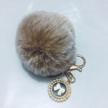 8CM Pompom Artificial Rabbit Gold Button Round Bow with Pearl Fluffy Ballskin Keychain Ms. Car Keychain Ring Chaveiro Llaveros(China)
