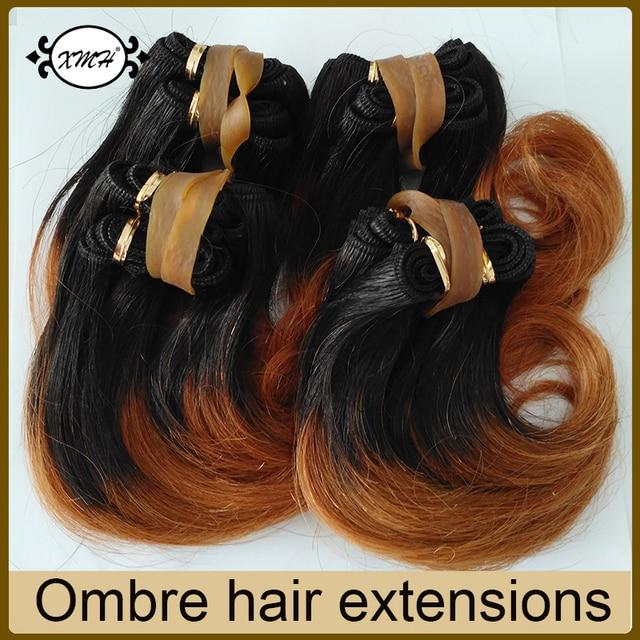 6 Inch Ombre 1b 30 Brazilian Hair Short Weave Hair Extensions 4pcs