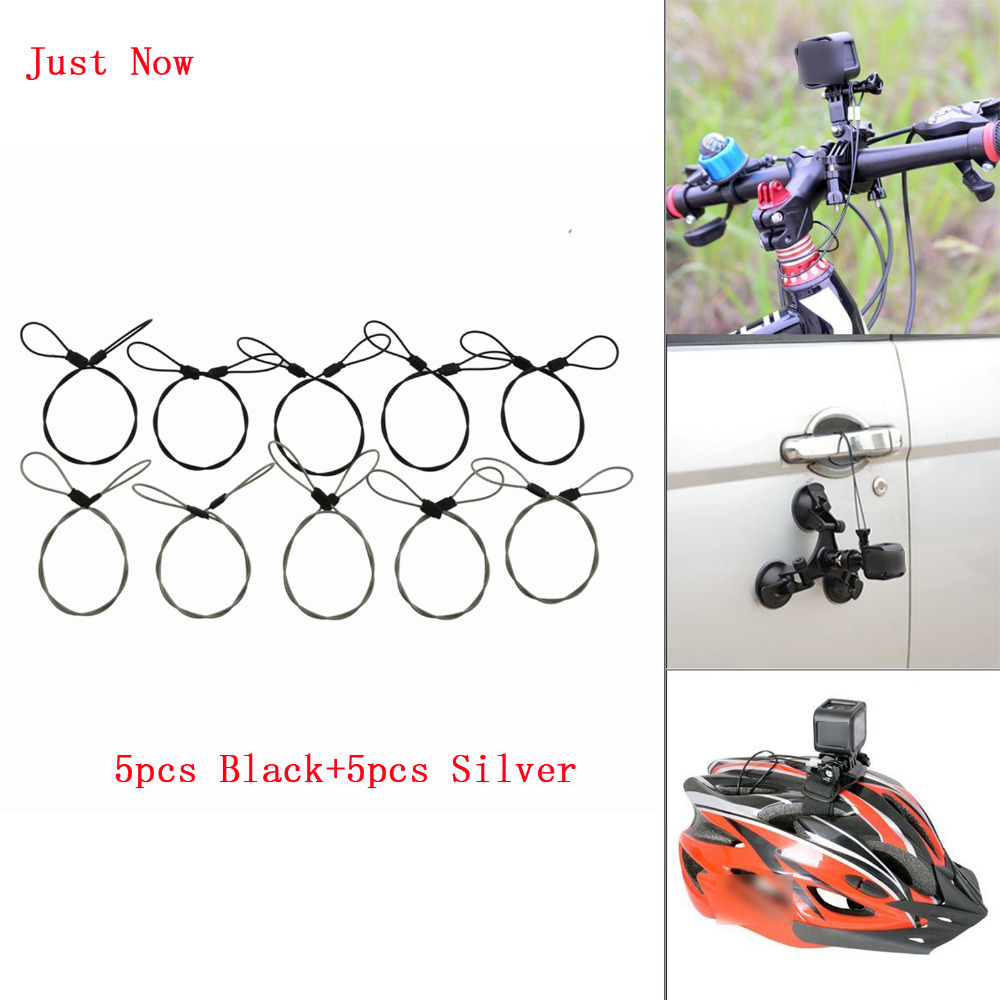 10PCS Stainless Steel Silver Black Safety 30cm 12in Tether Lanyard Strap for GoPro Hero 5 4