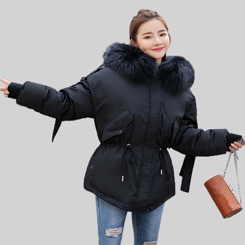KISBINI 2018 Winter Unique Design Women Thick Warm   Parkas   Jacket Oversize Faux Fur Collar Hooded Padded Outwear Coat Clothes