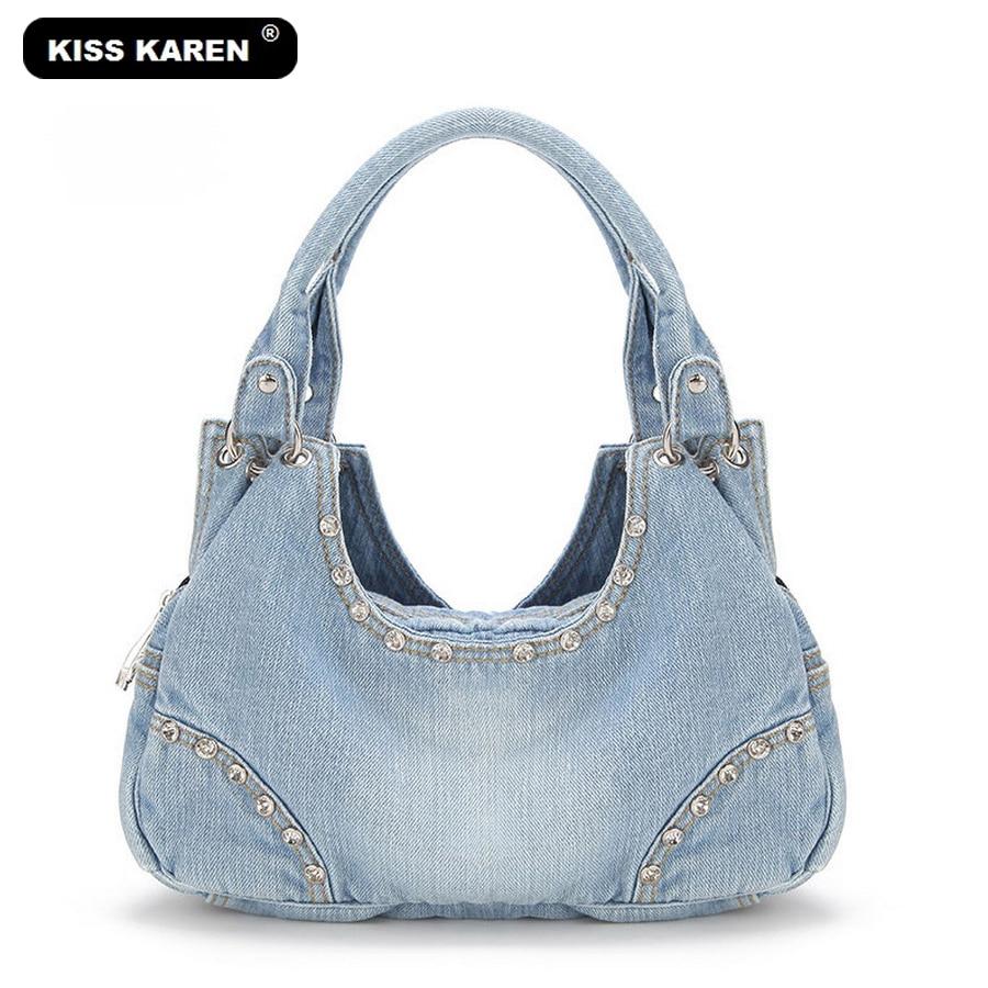 KISS KAREN Fashion Diamond Studs Denim Bag տիկնայք - Պայուսակներ - Լուսանկար 1