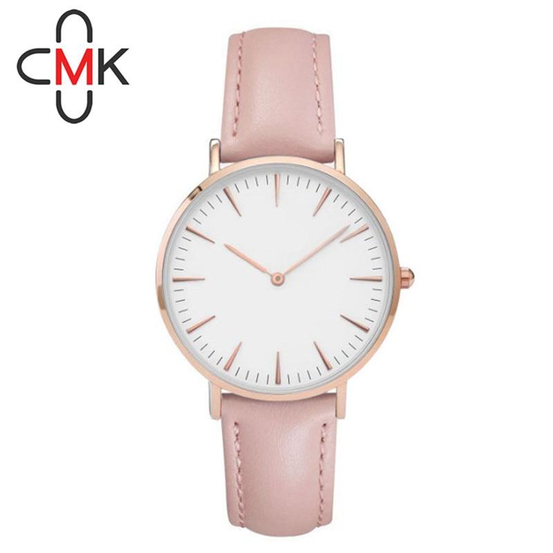 CMK Simple Fashion Casual Quartz Watch Women Rhinestone Leather Strap Watch Relogios Feminino Birthday Christmas gift 2017