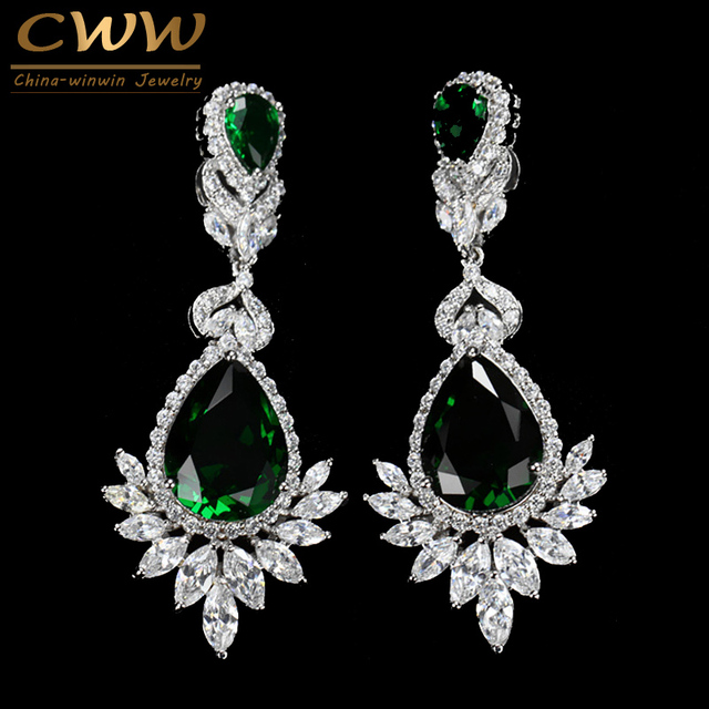 Cwwzircons romantic wedding souvenir jewelry long drop cz crystal cwwzircons romantic wedding souvenir jewelry long drop cz crystal green bridal wedding chandelier earring for bride aloadofball Image collections