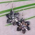 Free Shipping Fashion Jewelrly Flower Pearl New Zealand Abalone Shell Dangle Earrings 1Pair U164