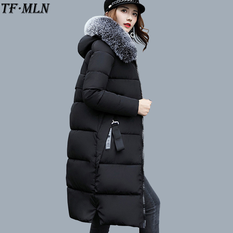 plaid down jacket with pockets TFMLN 2017 New Warm Women Parkas Down Cotton Jacket Hooded Coat Woman Outwear Clothes Winter High Quality Jacket With Pockets
