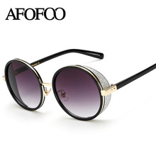 AFOFOO Vintage Round Sunglasses Fashion Brand Designer Metal Women Mirror Sun glasses Retro Ladies UV400 Shades Eyewear