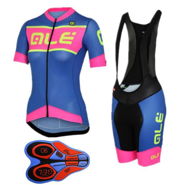 4cb8dec7e Women Ale Cycling Jersey and Bib Shorts Set Bike Short Sleeve Jersey  Clothing Apparel Suit Padded Breathable Quick Dry Jersey