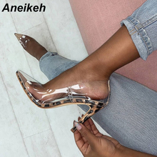 Aneikeh 2019 New Women Pumps PVC Transparent High Heels Sexy Pointed Toe Leopard Grain Party Shoes Lady Thin Heels Pumps Size 42