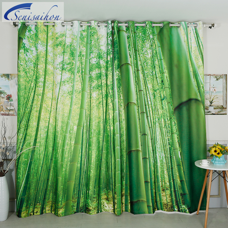 Senisaihon 3D Blackout Curtains Green Bamboo Forest Scenery Pattern Velvet Polyester Thickened Bedroom Curtains for Living Room