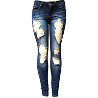 Women S Celebrity Style Hole Ripped Jeans Fashion Blue Low Rise Skinny Distressed Washed Stretch Denim