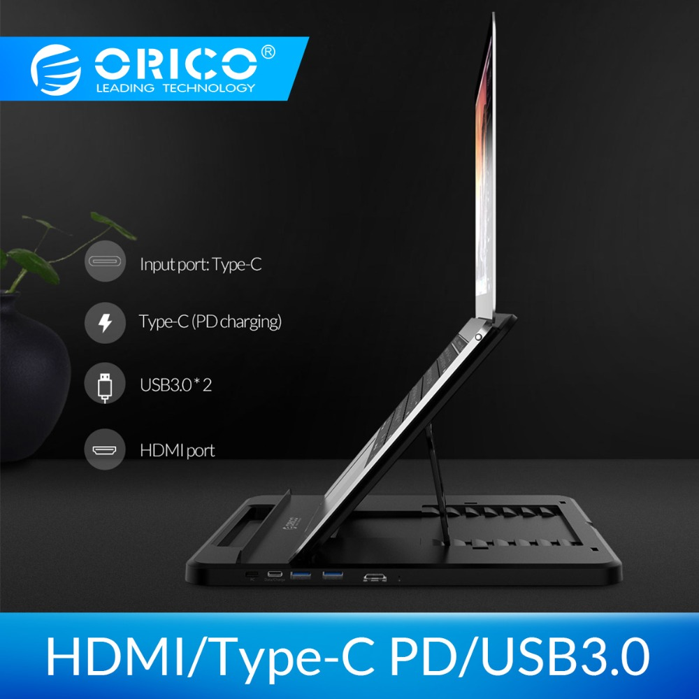 ORICO Laptop Holder USB-C to HDMI PD USB 3.0 HUB SD/TF Ports 7 Angles Adjustable Anti-skid Silicone Hollow Heat-dissipationORICO Laptop Holder USB-C to HDMI PD USB 3.0 HUB SD/TF Ports 7 Angles Adjustable Anti-skid Silicone Hollow Heat-dissipation