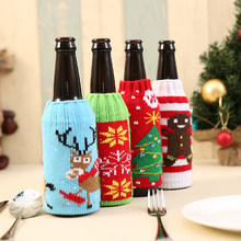 Wider Wine Bottle Cover Bags Decoration Party Santa Claus Christmas Cap On Wine Bottle Xmas Day Favor Decor Acceessories(China)