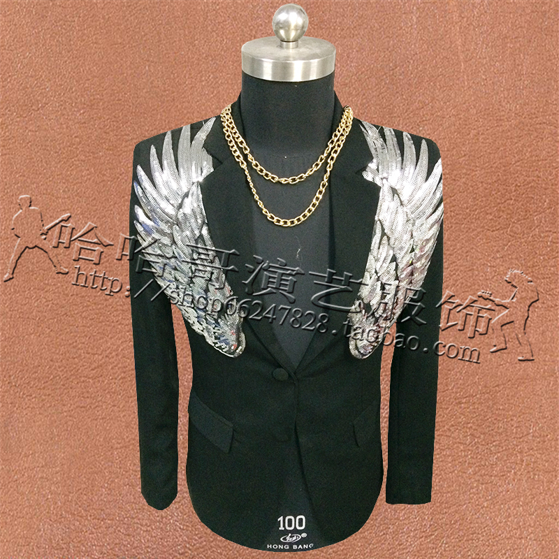 2019 New Silver Wings Sequins Men Blazers Suits Wedding Stage Costumes For Male Singers DJ Black Military Clothing Jacket Coat