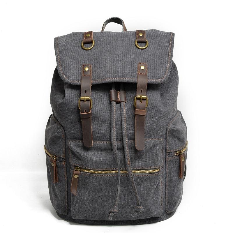 M104 New Vintage Backpack Leather Canvas Men Backpack School Bag Military Backpack Women Rucksack Male Knapsack