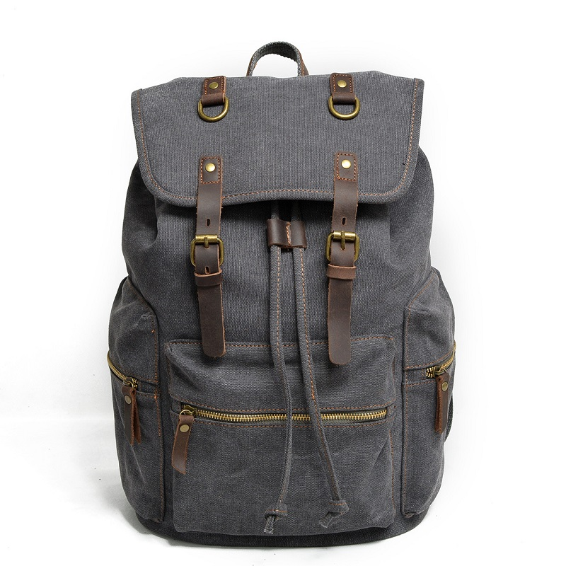 M104 New Vintage Backpack Leather Canvas Men Backpack School Bag Military Backpack Women Rucksack Male Knapsack Bagpack Mochila
