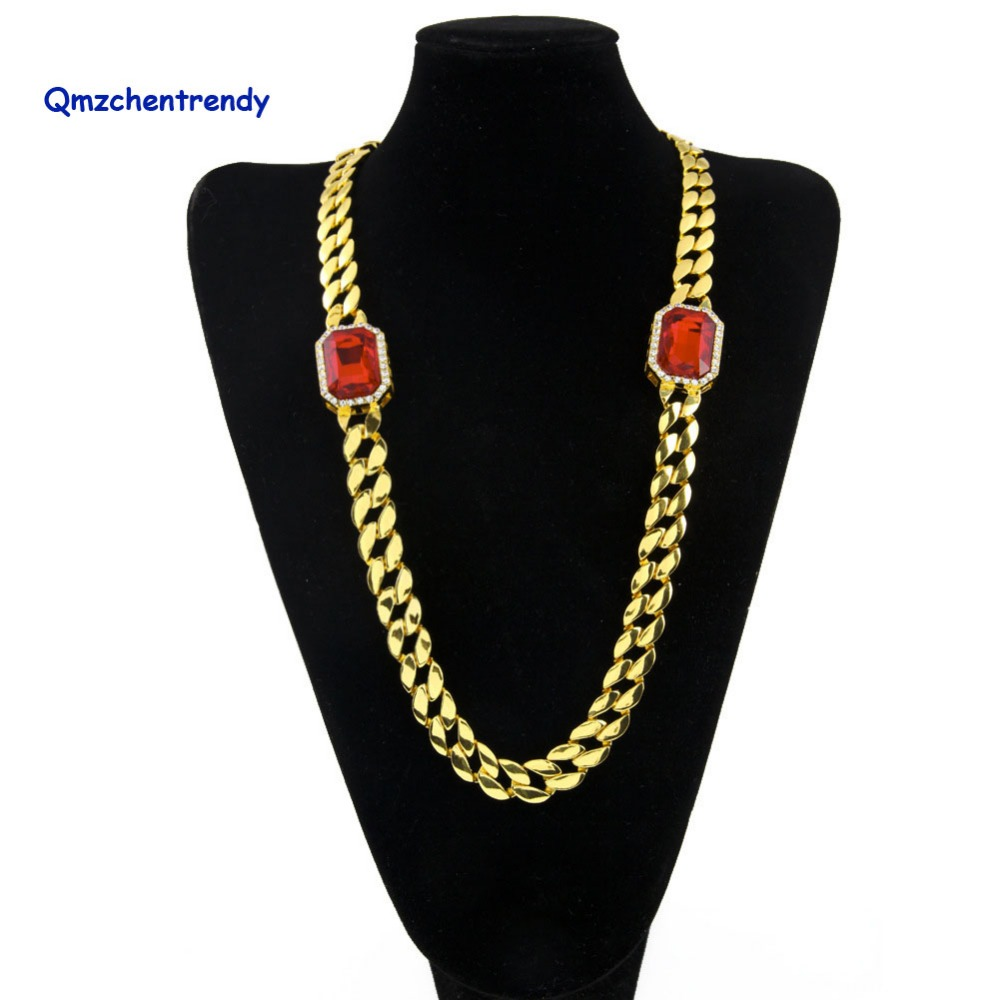 Top Quality Men Hip Hop Bling Iced Out Cube Chain Necklace Gold Electroplated MIAMI CUBAN LINK Red Square Rhinestone Necklaces
