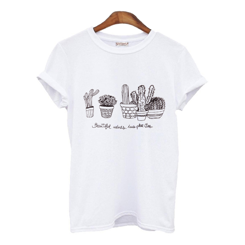 Summer 2016 Kawaii T-Shirt Women Cactus Print T Shirt Women Tops Fashion Hot Sales T-Shirt Femme Woman Clothing ...