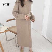 VGH 2018 Autumn Winter Dresses For Women O Neck Long Sleeve Loose Oversize Long Dress Korean Fashion Casual Clothing Tide