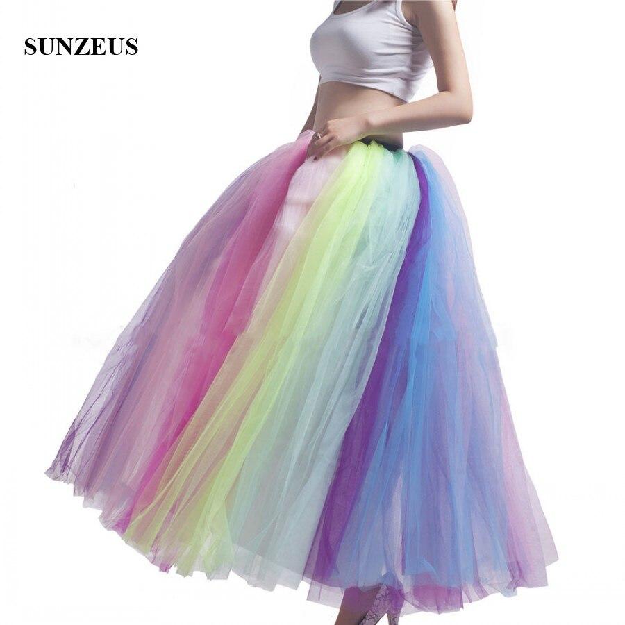 1 Meter Lange Regenbogen Petticoat Für Mädchen Farbige Outwear Tulle Puffy Unterrock Charming Hochzeit Zubehör Hoopless S1548 Klar Und Unverwechselbar