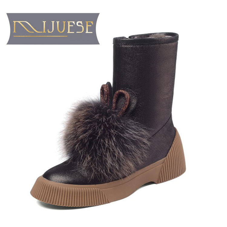 MLJUESE 2019 women snow boots cow leather Mane zippers round toe winter warm wool blend boots