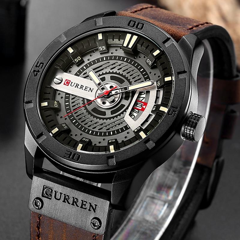 CURREN Relogio Masculino Mens Watches Top Brand Luxury Leather Fashion Casual Sport Clock Quartz Watch Men Military Wristwatches