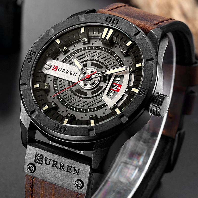 купить CURREN Relogio Masculino Mens Watches Top Brand Luxury Leather Fashion Casual Sport Clock Quartz Watch Men Military Wristwatches по цене 1260.67 рублей