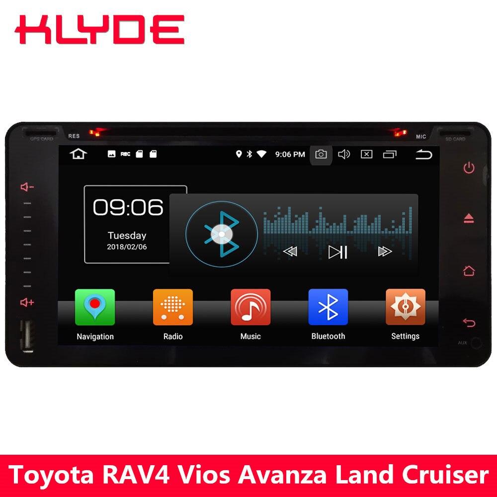 KLYDE 4G Android 8 Octa Core 4 GB + 32 GB lecteur DVD multimédia de voiture pour Toyota FJ Cruiser Highlander Yaris Fortuner Previa Vitz Echo