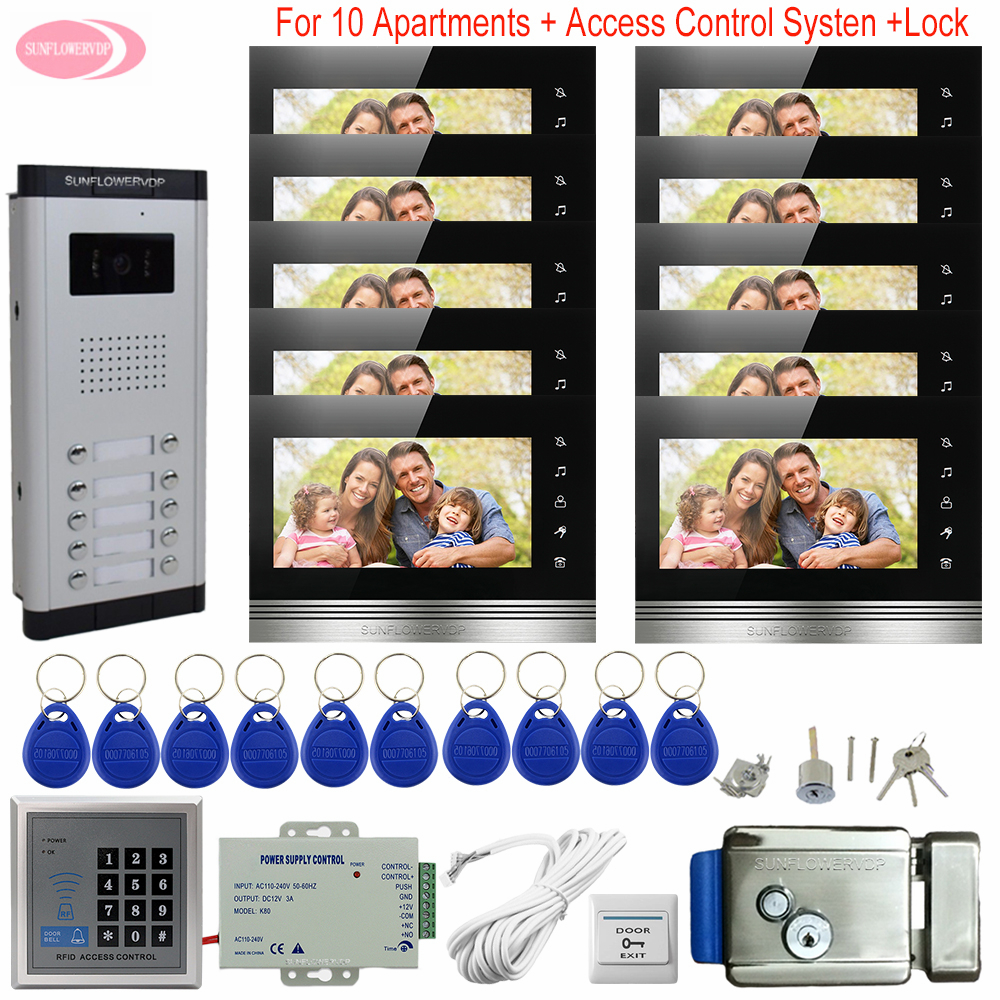 Video Intercom 10 Monitors  Wired Home Video Intercom Video Intercom 10 Apartments Access Control  Electronic Control Door Lock