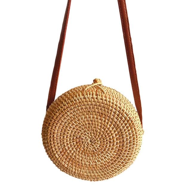 2019 Women Beach Bag Summer Big Totes With Zipper Circle Handwoven Bali Round Retro Rattan Straw Crossbody Handbag Shoulder Bag 3