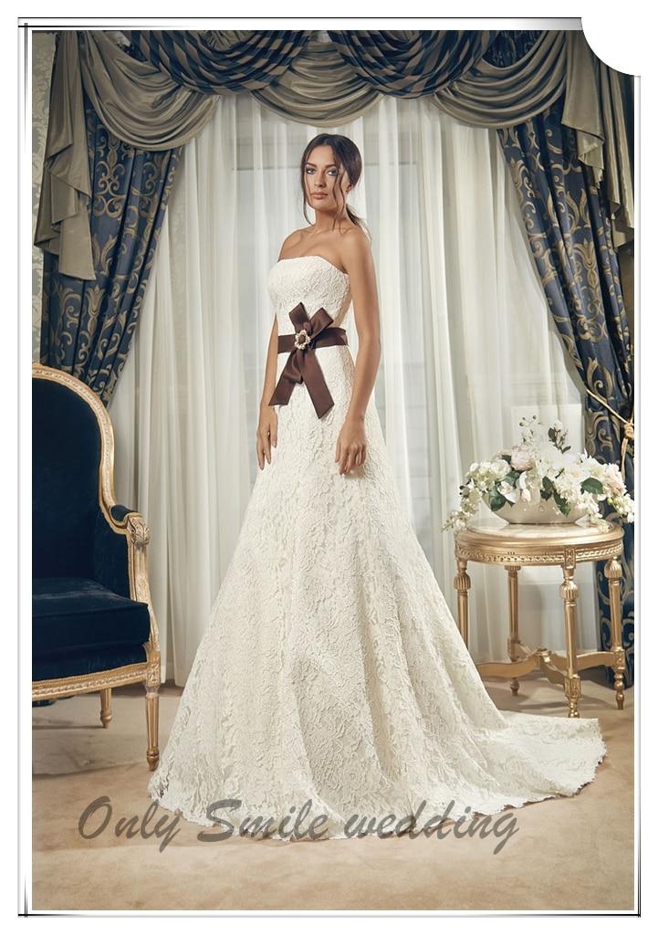 ZJ2019 Brown sash elgant sexy spanish lace wedding dresses ...
