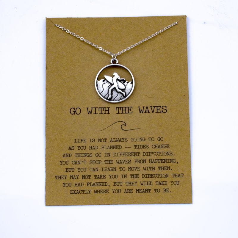 """SanLan 1 шт идут в комплекте ожерелье с подвеской """"волны"""" Океан ювелирные изделия - Окраска металла: 09"""