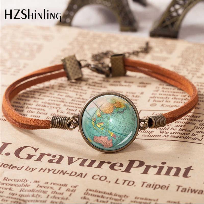 Gorąca sprzedaż skórzana bransoletka w stylu vintage planeta ziemia globus mapa bransoletki Art szklaną kopułą bransoletka biżuteria regulowana bransoletka