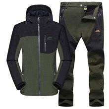 2016 outdoor mountain softshell jacket men hiking trekking pants camping sets sport windproof waterproof fleece suits