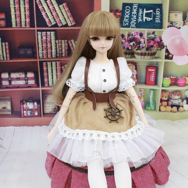 153172fde86 free shipping forturn days only for 1 4 bjd 45cm doll dress white shirt Belt