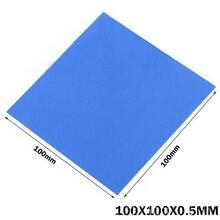 50piece/lot Lot 100X100x0.5MM Blue GPU CPU VGA Thermal Conductive Silicone Pad