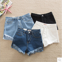 Four Colors New Women's Clothing Jeans Shorts  Front Short Back Long Student Loose Maxi Shorts Jeans High-Waist Slim Shorts Jean