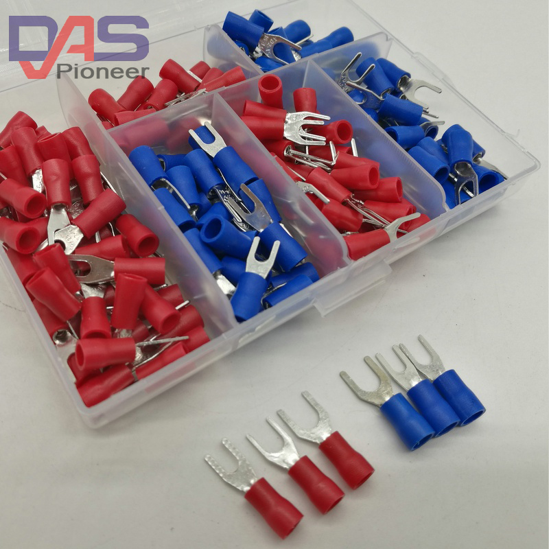 190pcs 6sizes SV Crimp Terminal Spade fork connector kit Wire Copper Crimp Connector Insulated Cord Pin End Terminal 600 pcs copper wire crimp tube connector spade insulated cord end cable wire terminal kit diy hand tool set for 22 10awg