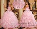 16 Vestidos rosa Quinceanera Vestidos Vestidos de baile querida cristal espartilho Ruffles Bandage baile Vestidos de 15 Anos