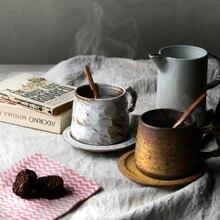 Ручной работы керамика кофе кружка с подносом Высокое качество Марка Японии стиль краткое керамические чашки и кружки рукоятки сувенирная кружка